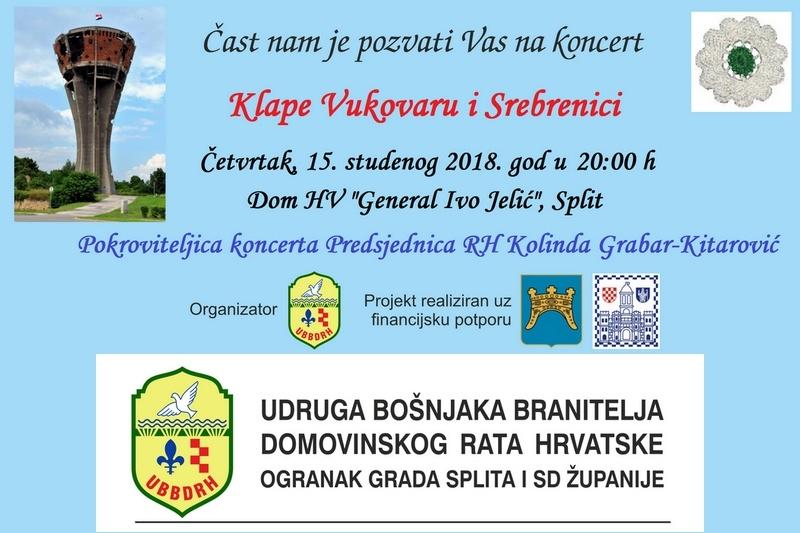 """Poziv na koncert """"Klape Vukovaru i Srebrenici"""""""