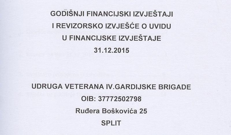 Revizorsko izvješće o uvidu u financijske izvještaje Udruge 4. gbr za 2015. godinu